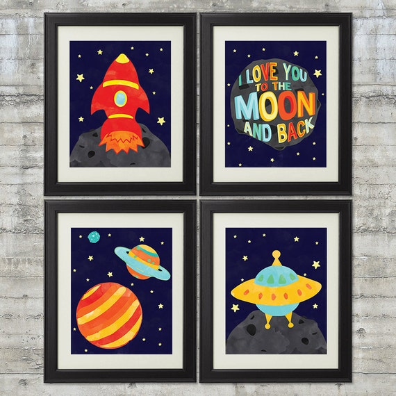 Retro rocket nursery art as seen in american baby magazine for Vintage outer space decor