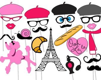 Paris Photo booth Party Props Set - 23 Piece PRINTABLE - French, Parisian, Ooh lal la, Valentines day, Paris, Travel Photo Booth Props