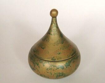 Vintage Rosenthal Studio Line Lidded Jar with Gold and Dark Green Glaze