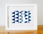 Triangle Pattern Print with Abstract Shape: Abstract Art Photo - Cyanotype