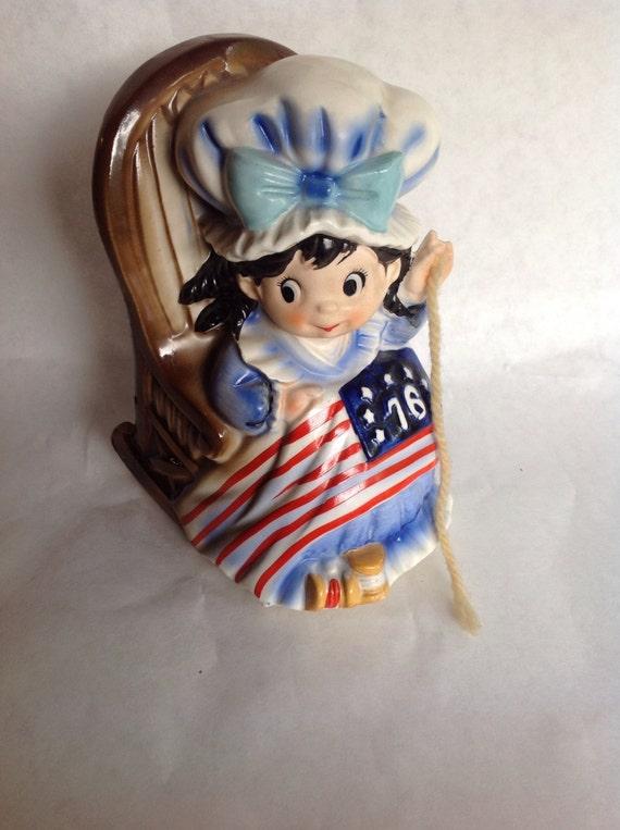 Vintage Ceramic Rocking Betsy Ross Figurine Music Box
