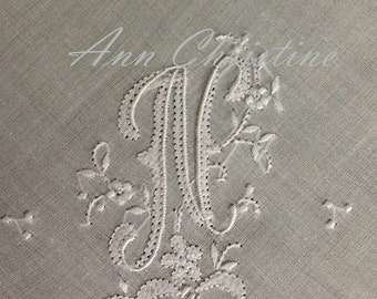 Beautiful N Initial Monogram HAND MONOGRAMMED Handkerchief Hankie UNUSED Vintage Stock Bridal Wedding
