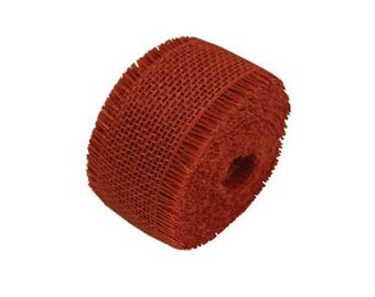 """4 Pack of 10 Yards, 2.5"""" Red Burlap Ribbon Rolss (Sewn Edges)"""