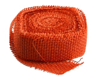 "12 Pack of 10 Yard, 1.5"" Orange Burlap Ribbon Rolls (Frayed Edges)"