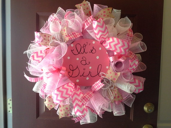it 39 s a girl wreath baby shower wreath nursery wreath