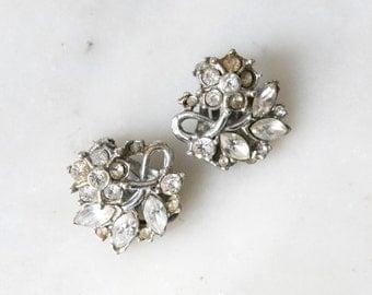 1950s Diamante Clip Earrings Vintage Costume Jewelry