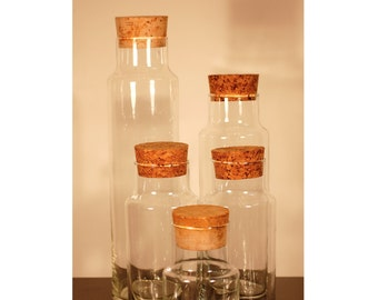 5 Glass Canisters Apothecary Jars with Cork Lids
