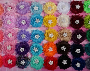 5  Shabby Chic Flower Headband Set - YOU PICK 5 - Shabby Flower Headbands - Thick Foldover Elastic - Baby Headbands Adult Headband