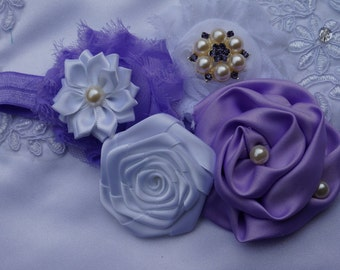 Purple Flower Headband, Purple, Lavender and White Satin Flower  w/ Pearls Headband, The Emily, Baby Toddler Child Girls Headband