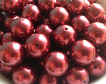 20mm Deep Red Crimson Pearl Chunky Necklace Bead