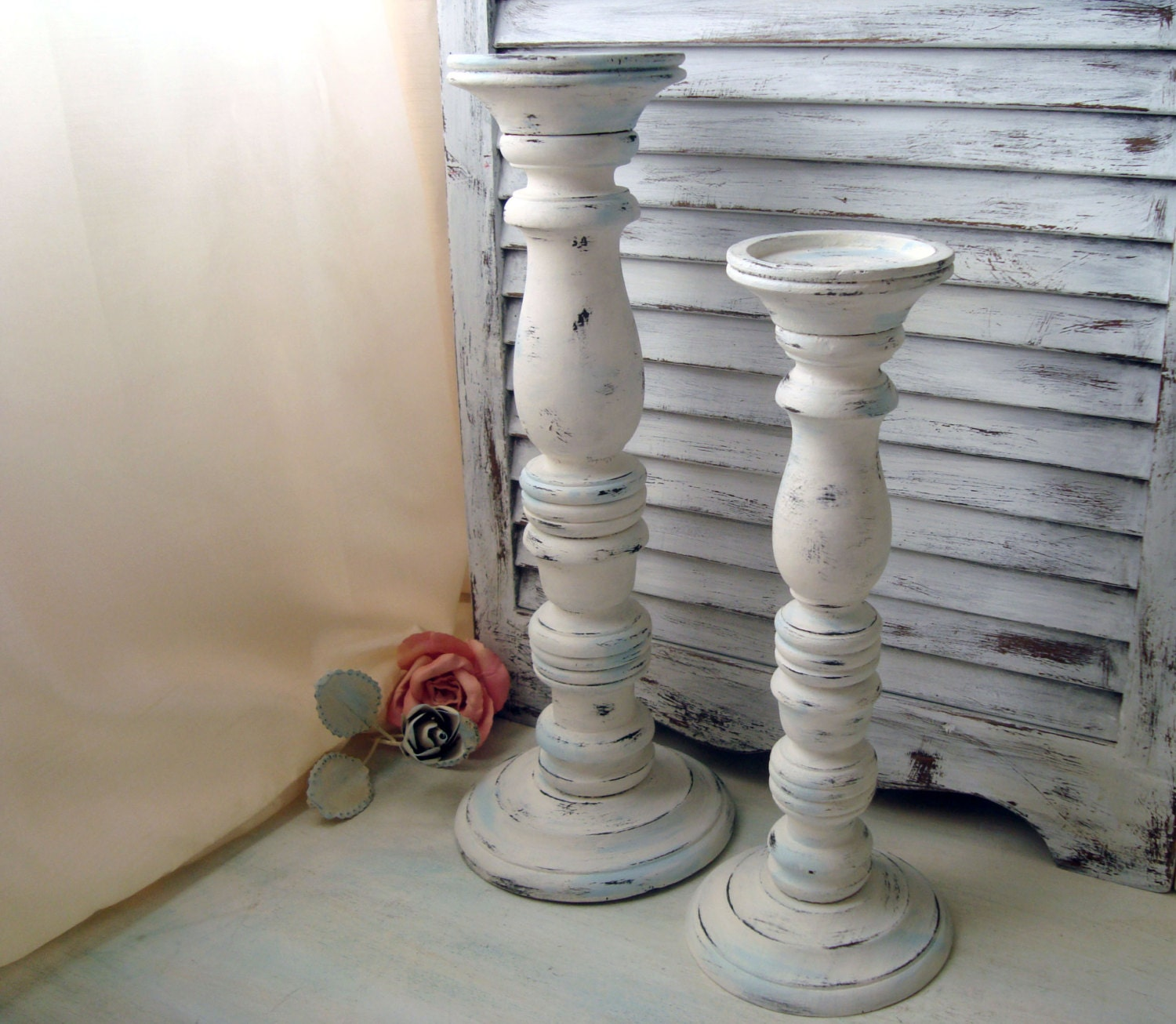 White Distressed Tall Candle Holders Beach Cottage White And