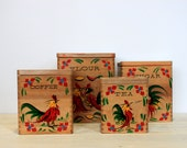 vintage farmhouse canister set // wooden set with rooster and chicken // japan - umbrellafant