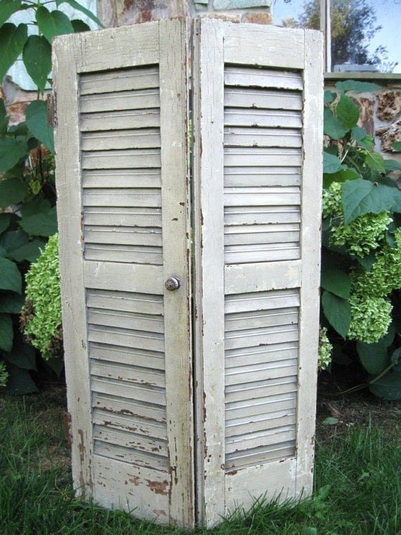 Antique Wood Shutters Architectural Salvage Vintage By