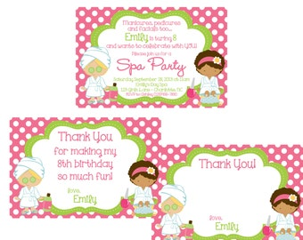 Girls SPA party invitation and thank you notes