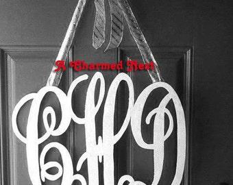 "Wooden Monogram - Ready To Paint - Monogram Wedding Guest Book - Monogram Wall Hanging - Bridesmaid Gift - 16"" x 20"""
