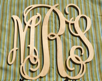 "on SALE- 20 %  - Extra Large (24"") Wooden Monogram-Ready to Paint-Monogram your Home"