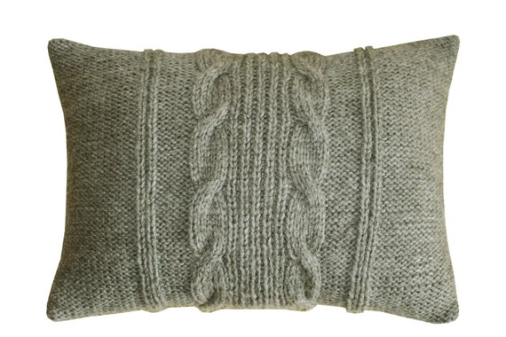 Decorative Cable Knit Pillow in Charcoal grey by pillowSunnyday
