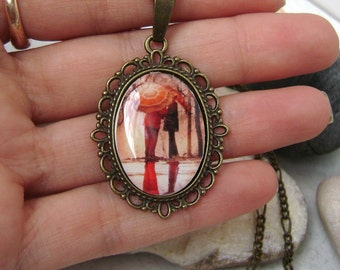 Vintage pendant . Vintage pendant from polymer clay . Pendant Lovers in the rain .
