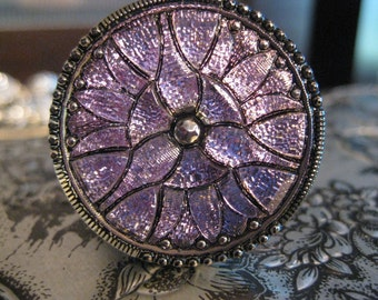Lotus Blossom in Lilac Czech Glass Button 32mm