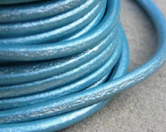 Metallic blue leather licorice leather cord, 4.5mm, selling by the meter