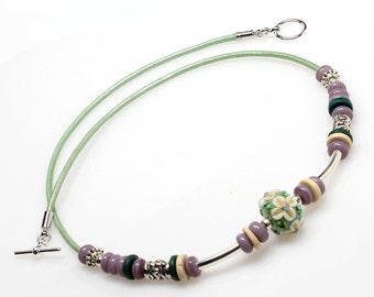 Mint Lampwork Leather Necklace, Artisan Lampwork, Green, Handmade Jewelry, Jewellery