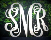 "Monogram Wood Letter Initials 24"" Width Vine Font"