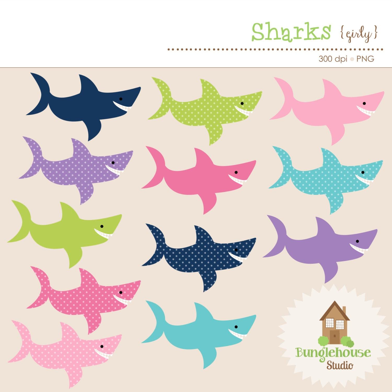 Shark Clip Art Set Shark Clipart Graphics Instant Download