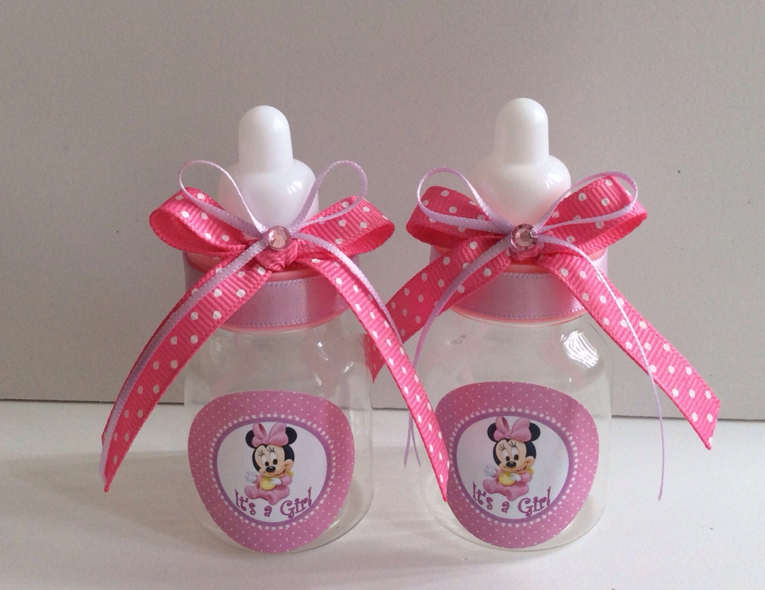 12 small 3 5 minnie mouse baby shower favors in pink and