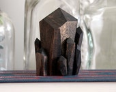 Handmade Faceted Wood Quartz Crystal Point Sculpture in Walnut