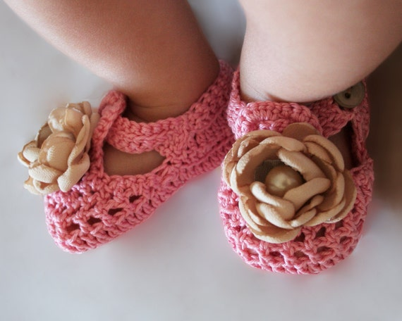 100% Cotton Shabby Chic Crochet Baby Booties Booties for Baby