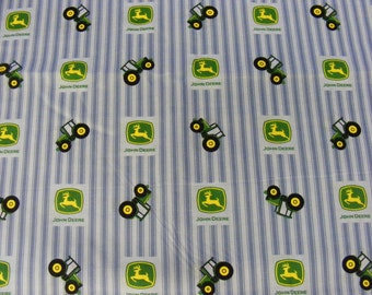 John Deere cotton in blue with stripes