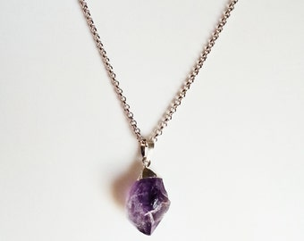 RAW AMETHYST CRYSTAL Necklace, Rock Jewelry, Geo, Crystal Necklace