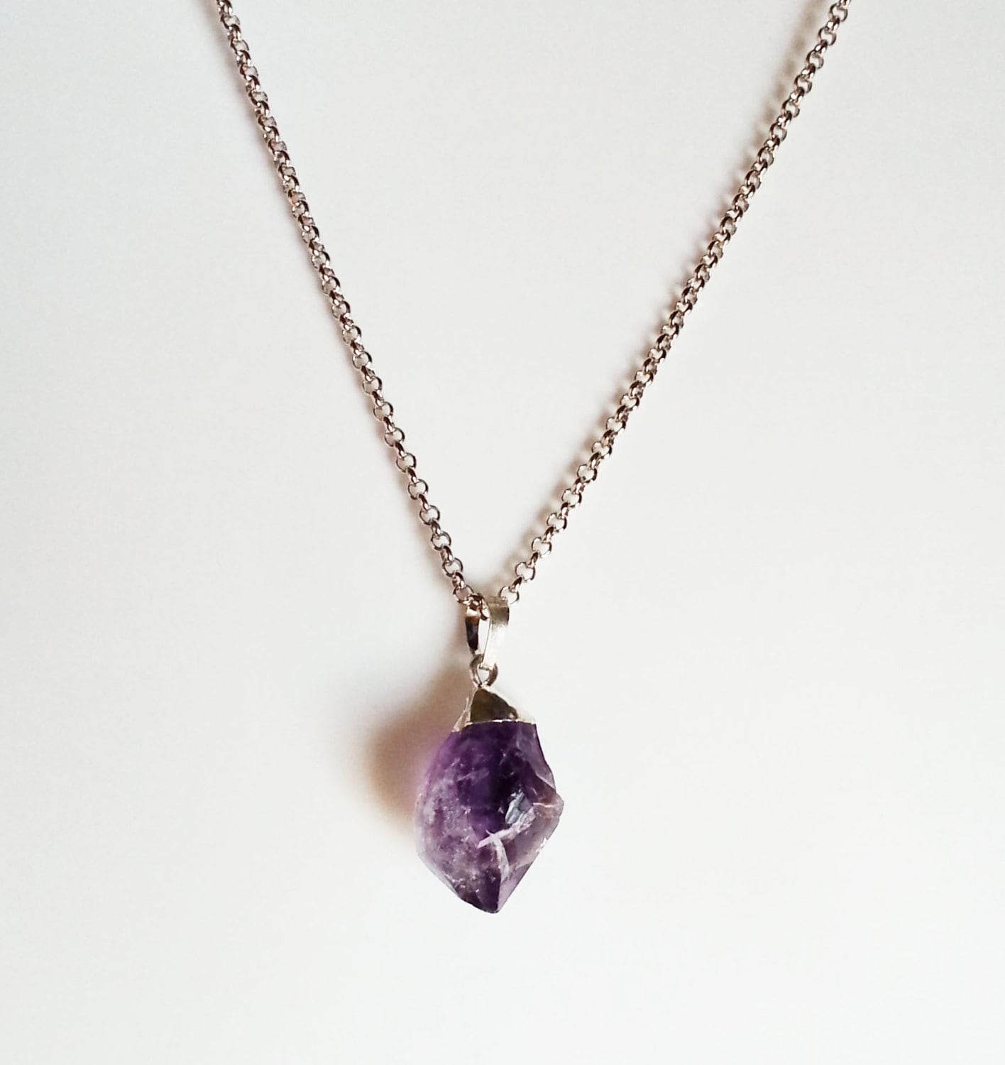Raw amethyst crystal necklace rock jewelry geo crystal for How to make rock jewelry