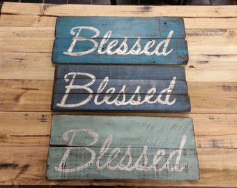 "Distressed Wood Sign ""Blessed"""