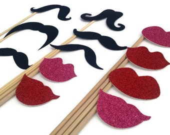 Photo Booth Props - Mustaches and Glitter Lips - 12 Piece Set Photo Booth Set
