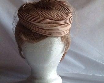 Vintage 1962 satin hat with veil