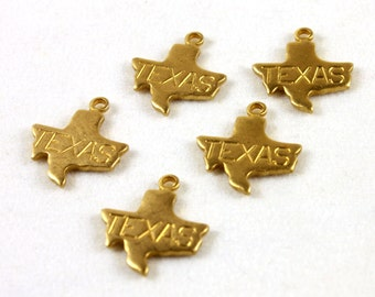 6x Engraved Brass Texas State Charms - M057-TX