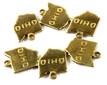 6x Brass Engraved Ohio State Charms - M057-OH