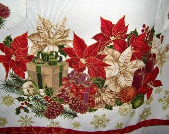 Apron - Holiday Gifts Poinsettias Snowflakes 2 Pockets