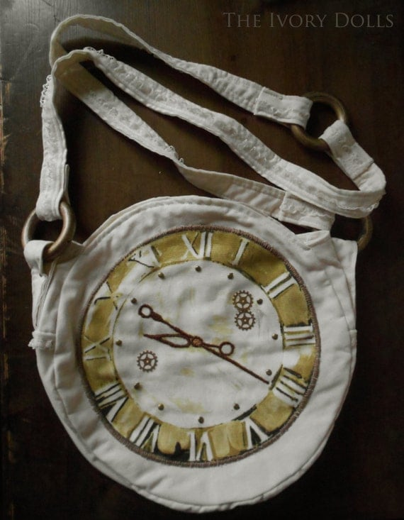 Shabby Chic Mori Girl Style Embroidered and Embellished Clock Bag
