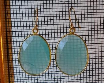 Blue/green Chalcedony dangle earrings