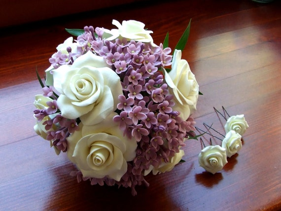 Alternative bouquet, wedding bouquet, bouquet of handmade bridal bouquet, bouquet of polymer clay, ivory roses and lilac