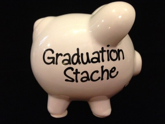 Graduation stache piggy bank by twogreenmonkeys on etsy - Piggy bank without stopper ...