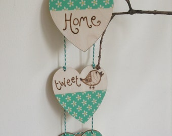 Home Tweet Home 3 Heart Bunting with Decoupage