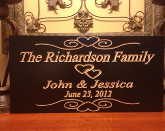 Personalized Plaque Est. Family Wooden Sign Wedding Gift Last Name Engraved Marriage