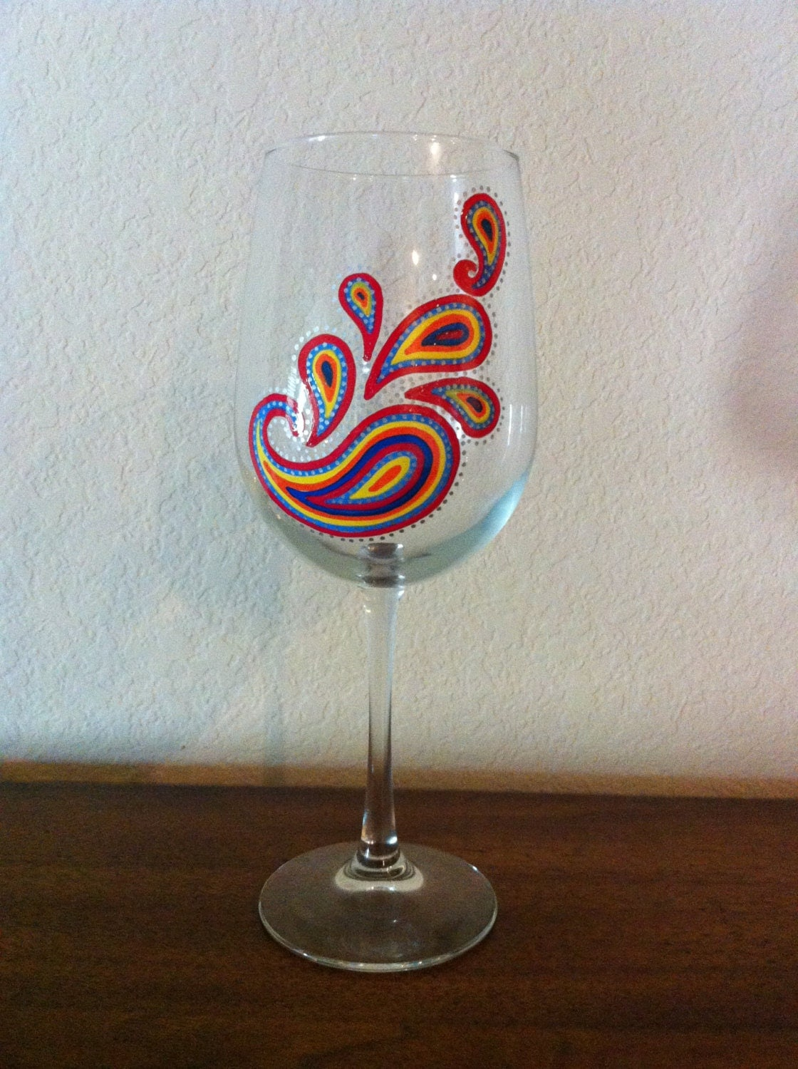 Hand Painted Paisley Wine Glass