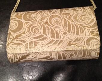 Vintage La Regale Gold Lame and Creme Evening Bag