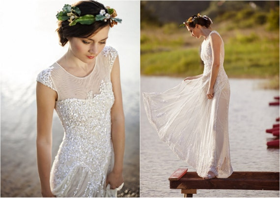 Vanille tulle dress with lace