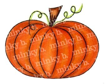 "INSTANT DOWNLOAD Digital Stamp ""Fat Pumpkin"" by Minky B Designs"