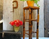 Vintage Tortoise Shell Bamboo Stool Plant Stand - Kitch Tiki Chinoiserie